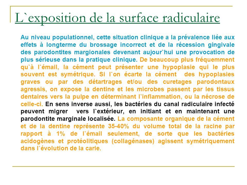 L`exposition de la surface radiculaire Au niveau populationnel, cette situation clinique a la prévalence liée aux effets à longterme du brossage incor