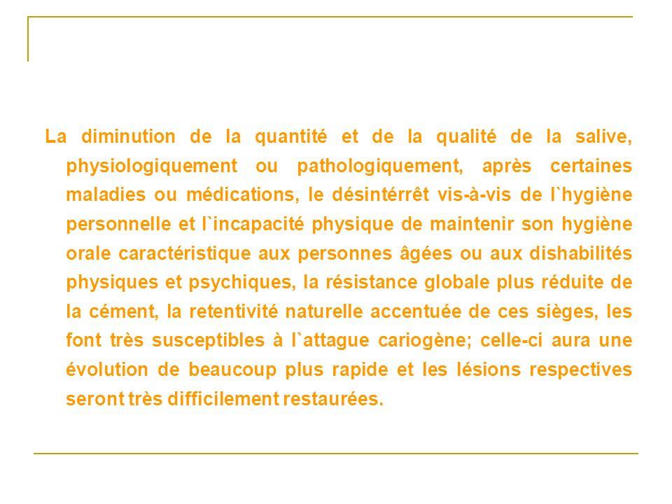 La diminution de la quantité et de la qualité de la salive, physiologiquement ou pathologiquement, après certaines maladies ou médications, le désinté