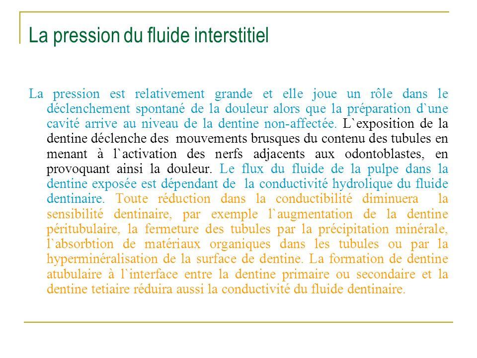 La pression du fluide interstitiel La pression est relativement grande et elle joue un rôle dans le déclenchement spontané de la douleur alors que la