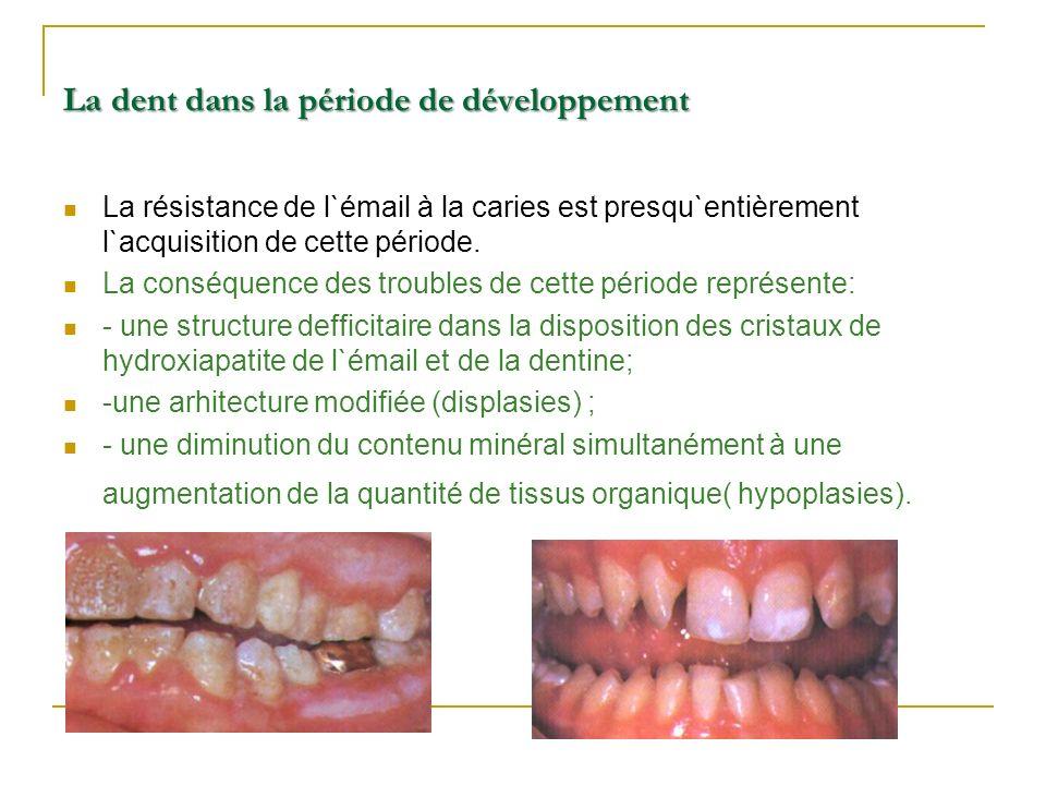 La dent dans la période de développement La résistance de l`émail à la caries est presqu`entièrement l`acquisition de cette période. La conséquence de