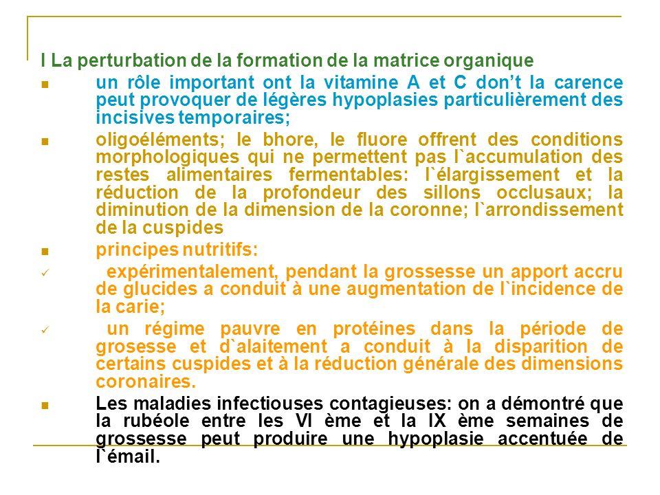 I La perturbation de la formation de la matrice organique un rôle important ont la vitamine A et C dont la carence peut provoquer de légères hypoplasi