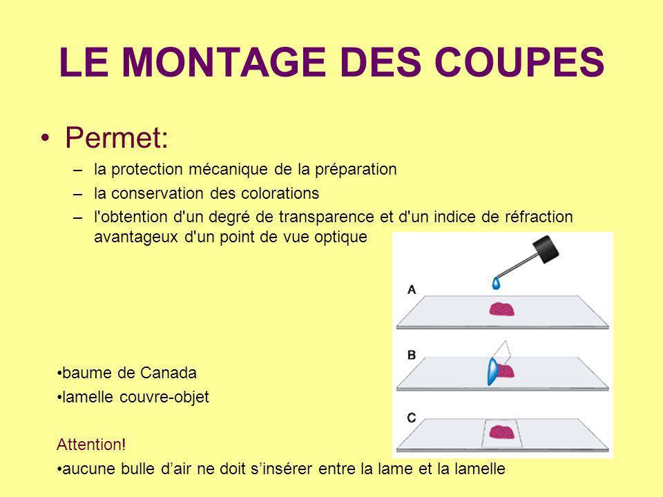 LE MONTAGE DES COUPES Permet: –la protection mécanique de la préparation –la conservation des colorations –l'obtention d'un degré de transparence et d
