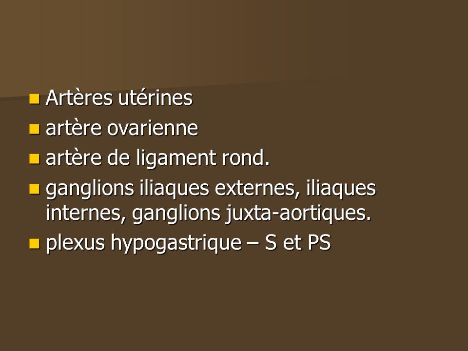 Artères utérines Artères utérines artère ovarienne artère ovarienne artère de ligament rond. artère de ligament rond. ganglions iliaques externes, ili