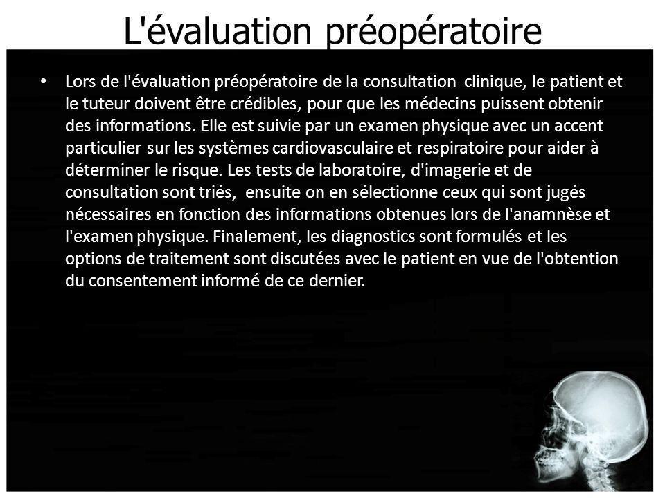 L'évaluation préopératoire Lors de l'évaluation préopératoire de la consultation clinique, le patient et le tuteur doivent être crédibles, pour que le