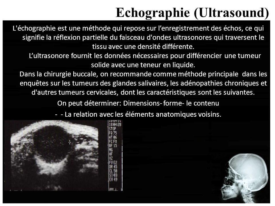 Echographie (Ultrasound) L'échographie est une méthode qui repose sur lenregistrement des échos, ce qui signifie la réflexion partielle du faisceau d'