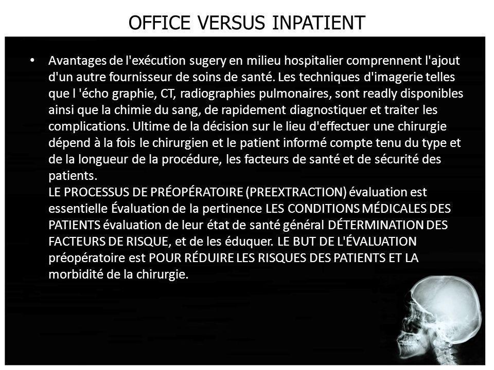 OFFICE VERSUS INPATIENT Avantages de l'exécution sugery en milieu hospitalier comprennent l'ajout d'un autre fournisseur de soins de santé. Les techni