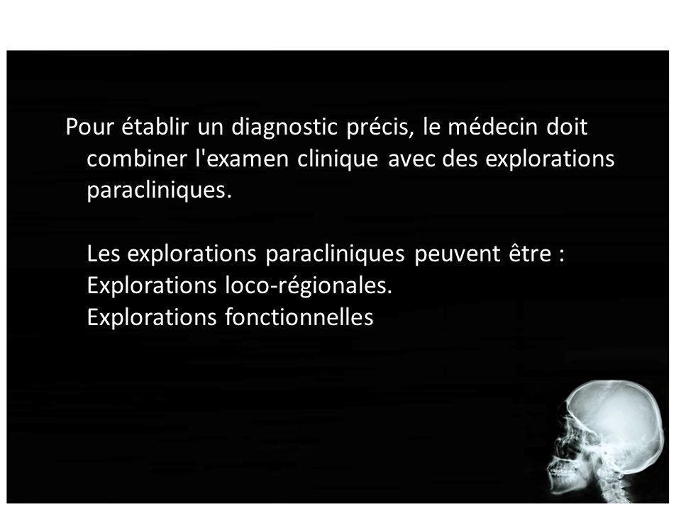 Pour établir un diagnostic précis, le médecin doit combiner l'examen clinique avec des explorations paracliniques. Les explorations paracliniques peuv