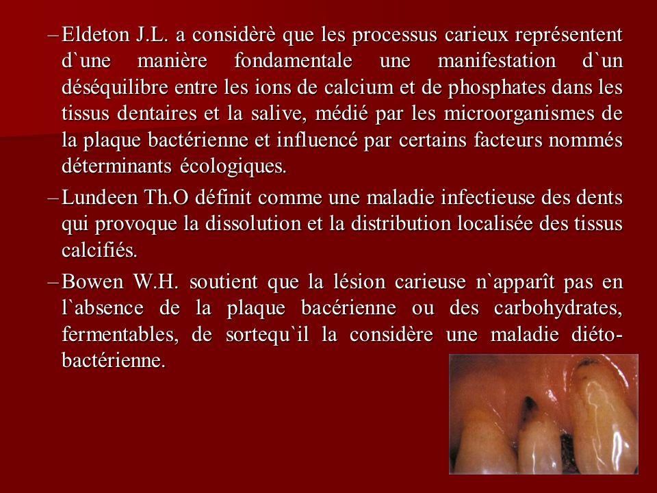 –Eldeton J.L. a considèrè que les processus carieux représentent d`une manière fondamentale une manifestation d`un déséquilibre entre les ions de calc