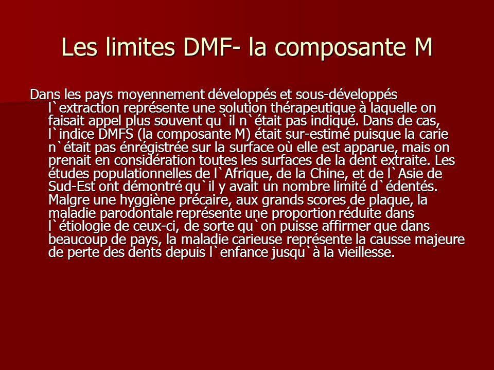 Les limites DMF- la composante M Dans les pays moyennement développés et sous-développés l`extraction représente une solution thérapeutique à laquelle