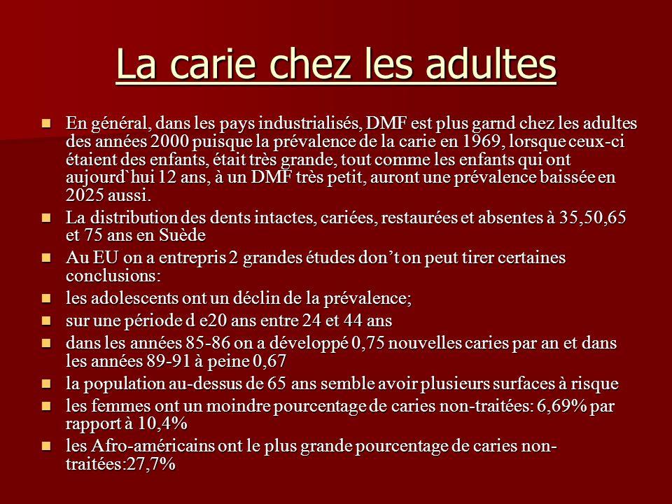 La carie chez les adultes En général, dans les pays industrialisés, DMF est plus garnd chez les adultes des années 2000 puisque la prévalence de la ca