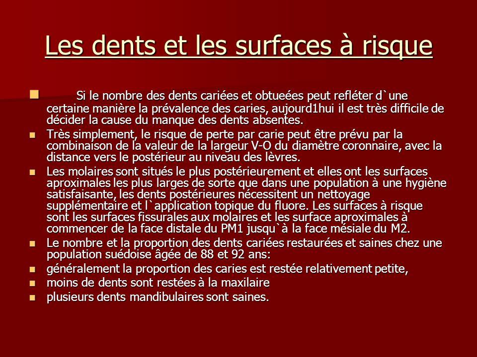 Les dents et les surfaces à risque Si le nombre des dents cariées et obtueées peut refléter d`une certaine manière la prévalence des caries, aujourd1h