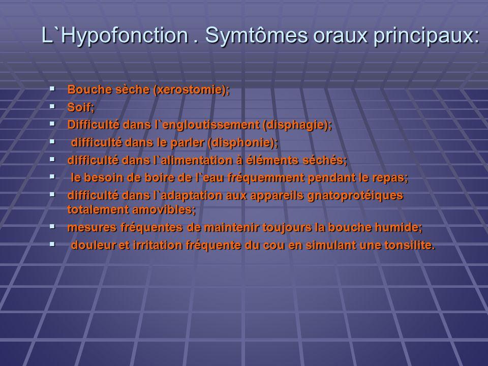 L`Hypofonction. Symtômes oraux principaux: Bouche sèche (xerostomie); Bouche sèche (xerostomie); Soif; Soif; Difficulté dans l`engloutissement (dispha