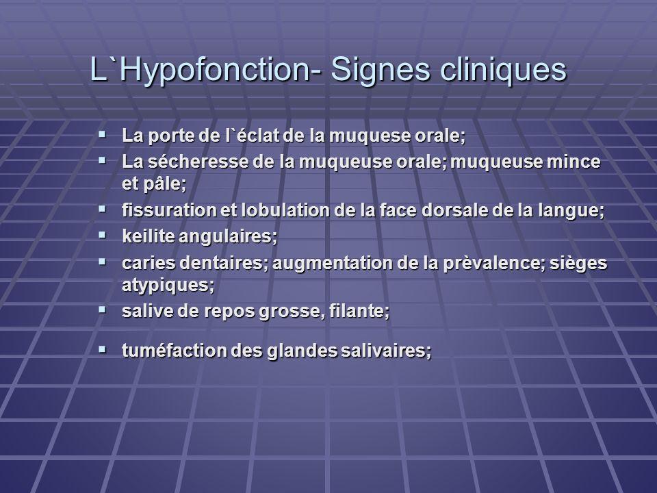 L`Hypofonction- Signes cliniques La porte de l`éclat de la muquese orale; La porte de l`éclat de la muquese orale; La sécheresse de la muqueuse orale;