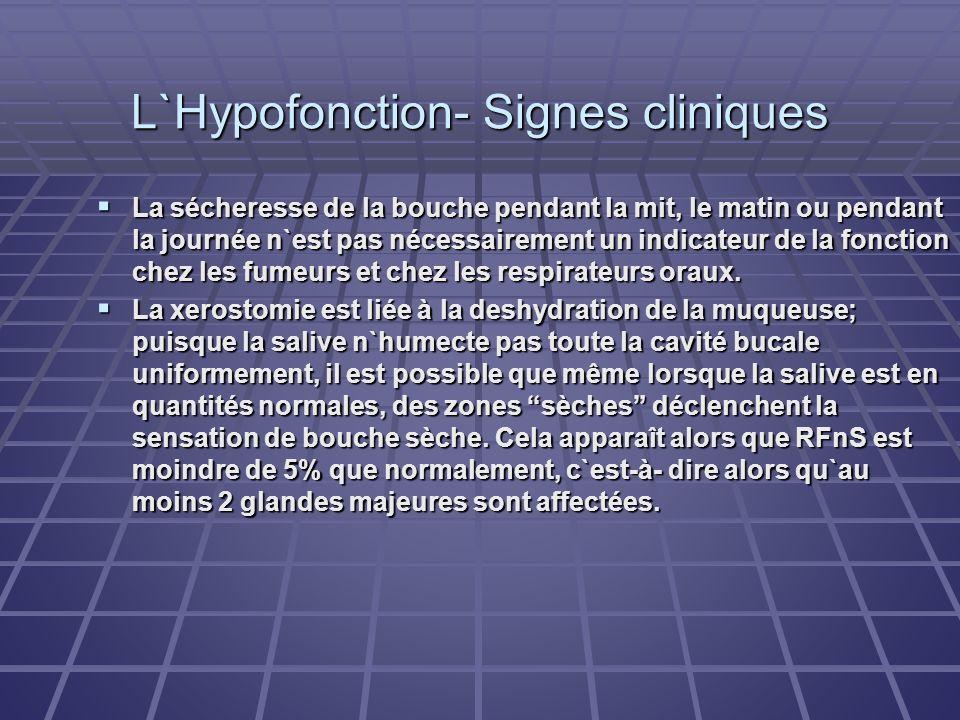 L`Hypofonction- Signes cliniques La sécheresse de la bouche pendant la mit, le matin ou pendant la journée n`est pas nécessairement un indicateur de l
