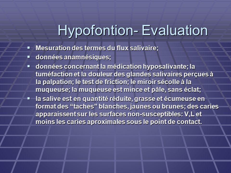 Hypofontion- Evaluation Mesuration des termes du flux salivaire; Mesuration des termes du flux salivaire; données anamnésiques; données anamnésiques;