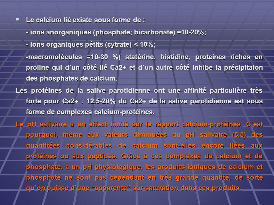 Le calcium lié existe sous forme de : Le calcium lié existe sous forme de : - ions anorganiques (phosphate; bicarbonate) =10-20%; - ions organiques pé