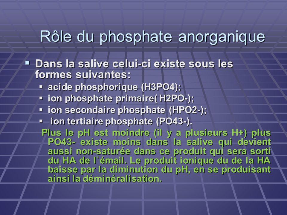 Rôle du phosphate anorganique Dans la salive celui-ci existe sous les formes suivantes: Dans la salive celui-ci existe sous les formes suivantes: acid