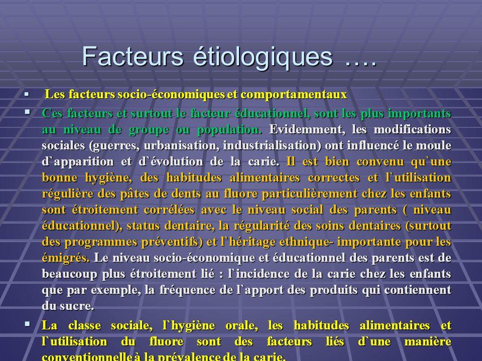 Facteurs étiologiques …. Les facteurs socio-économiques et comportamentaux Les facteurs socio-économiques et comportamentaux Ces facteurs et surtout l