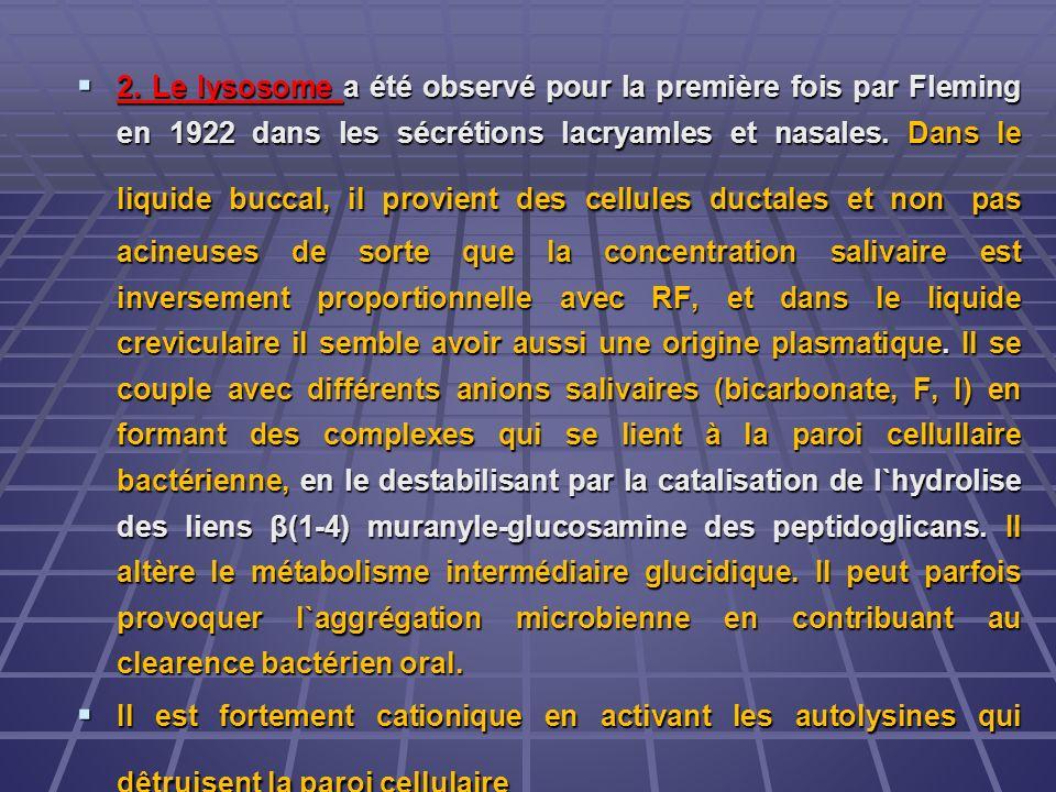 2. Le lysosome a été observé pour la première fois par Fleming en 1922 dans les sécrétions lacryamles et nasales. Dans le liquide buccal, il provient