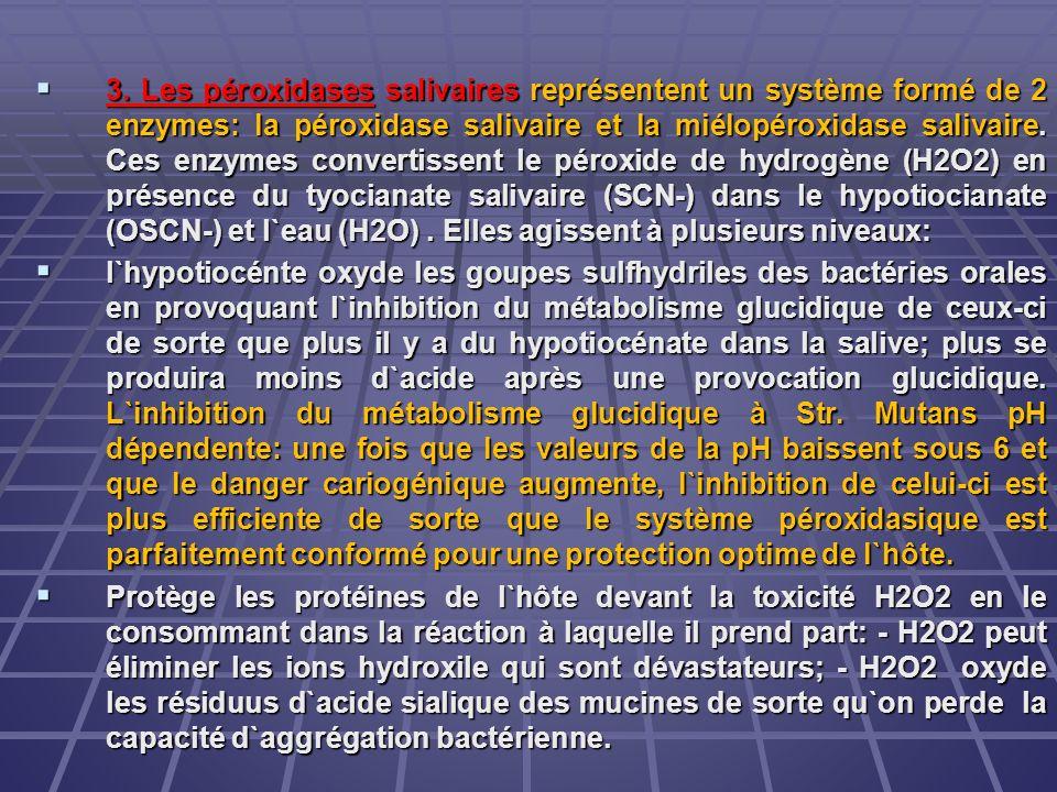 3. Les péroxidases salivaires représentent un système formé de 2 enzymes: la péroxidase salivaire et la miélopéroxidase salivaire. Ces enzymes convert