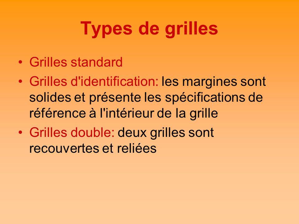 Types de grilles Grilles standard Grilles d'identification: les margines sont solides et présente les spécifications de référence à l'intérieur de la