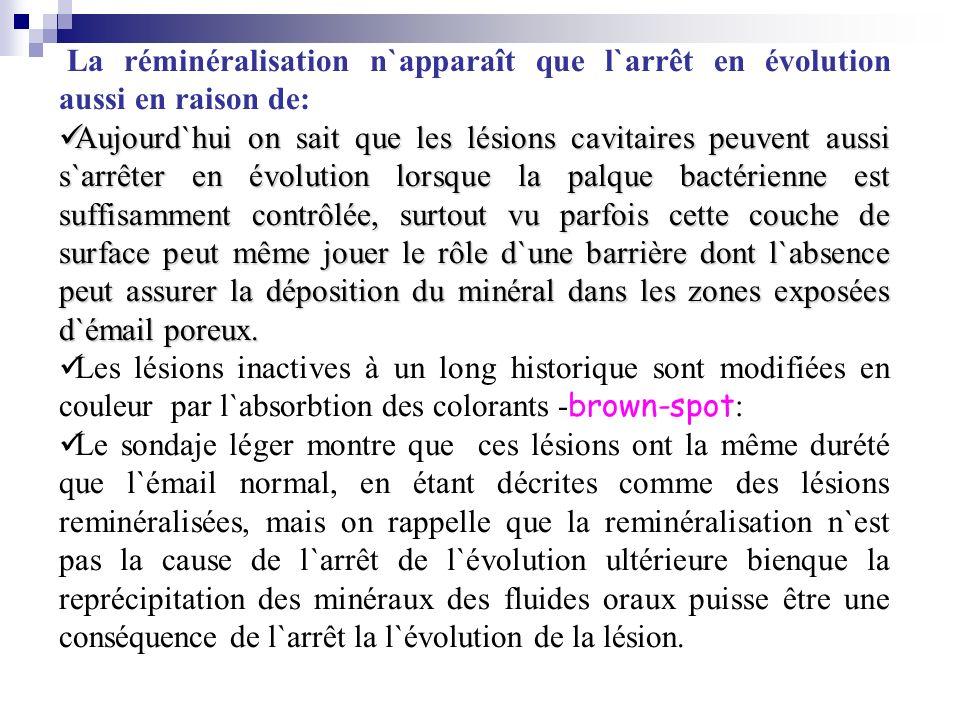 La réminéralisation n`apparaît que l`arrêt en évolution aussi en raison de: Aujourd`hui on sait que les lésions cavitaires peuvent aussi s`arrêter en