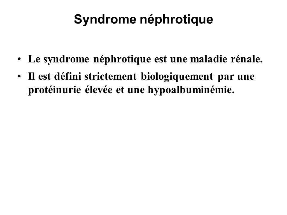 Syndrome néphrotique Le syndrome néphrotique est dit: pur ou impur s il est associé à une hypertension artérielle, et/ou une insuffisance rénale, et/ou une hématurie