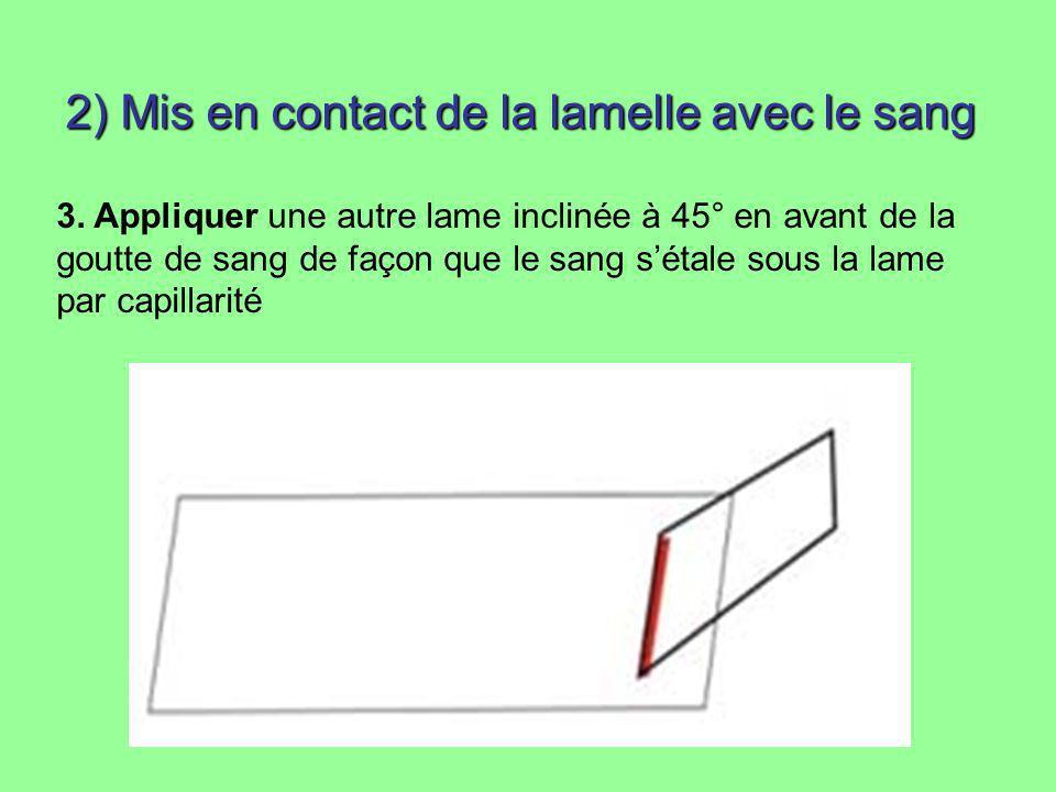 2) Mis en contact de la lamelle avec le sang 3. Appliquer une autre lame inclinée à 45° en avant de la goutte de sang de façon que le sang sétale sous