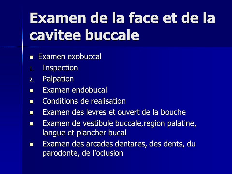 Examen de la face et de la cavitee buccale Examen exobuccal Examen exobuccal 1. Inspection 2. Palpation Examen endobucal Examen endobucal Conditions d