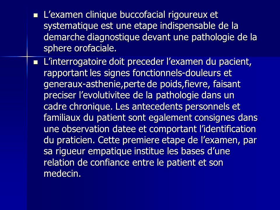 Lexamen clinique buccofacial rigoureux et systematique est une etape indispensable de la demarche diagnostique devant une pathologie de la sphere orof
