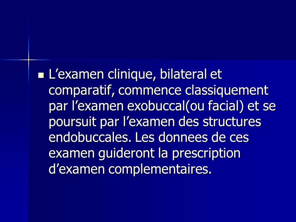 Lexamen clinique, bilateral et comparatif, commence classiquement par lexamen exobuccal(ou facial) et se poursuit par lexamen des structures endobucca