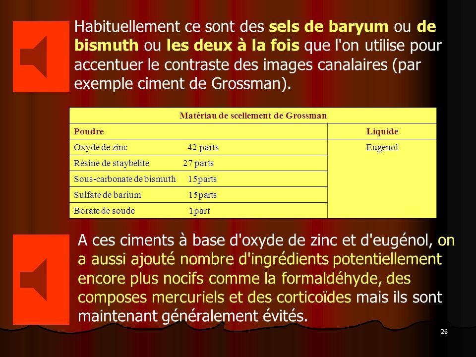 26 Habituellement ce sont des sels de baryum ou de bismuth ou les deux à la fois que l'on utilise pour accentuer le contraste des images canalaires (p