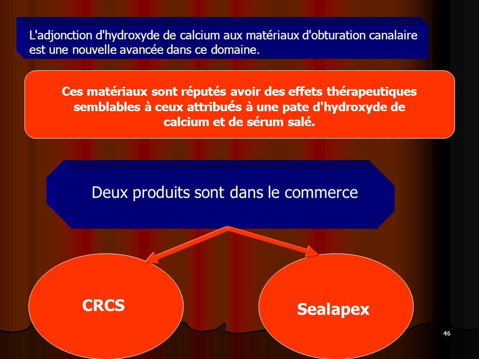 46 L'adjonction d'hydroxyde de calcium aux matériaux d'obturation canalaire est une nouvelle avancée dans ce domaine. Ces matériaux sont réputés avoir