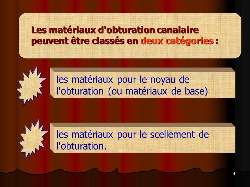 6 Les matériaux d'obturation canalaire peuvent être classés en deux catégories : les matériaux pour le noyau de l'obturation (ou matériaux de base) le