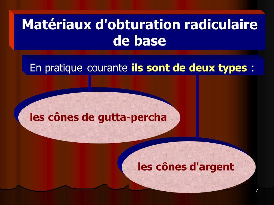 8 Gutta-percha Cones de gutta-percha pour obturation de canaux