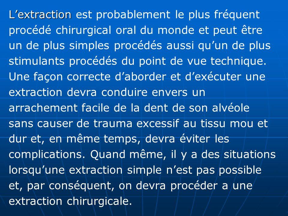 Lextraction Lextraction est probablement le plus fréquent procédé chirurgical oral du monde et peut être un de plus simples procédés aussi quun de plu