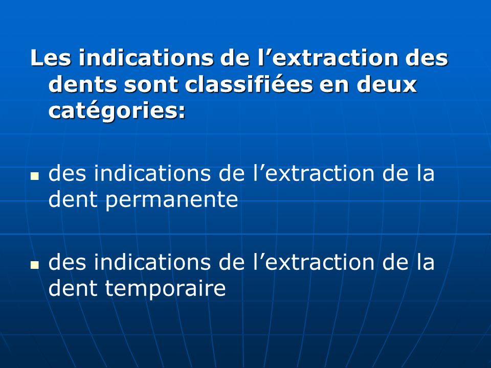Les indications de lextraction des dents sont classifiées en deux catégories: des indications de lextraction de la dent permanente des indications de