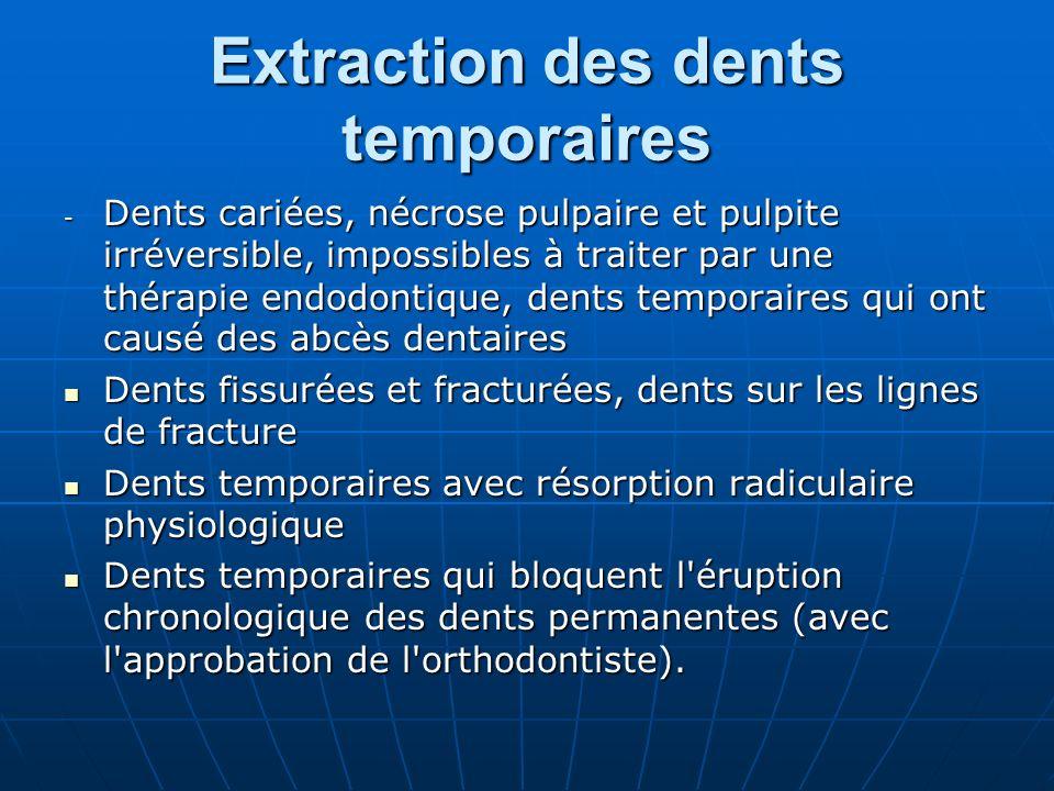 Extraction des dents temporaires - Dents cariées, nécrose pulpaire et pulpite irréversible, impossibles à traiter par une thérapie endodontique, dents