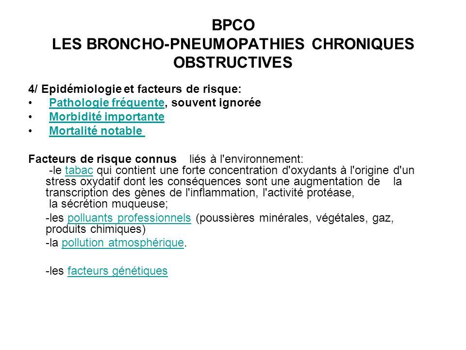 BPCO LES BRONCHO-PNEUMOPATHIES CHRONIQUES OBSTRUCTIVES 4/ Epidémiologie et facteurs de risque: Pathologie fréquente, souvent ignorée Pathologie fréque