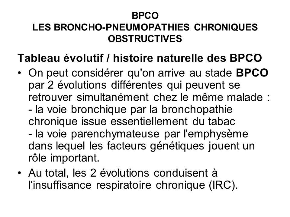 BPCO LES BRONCHO-PNEUMOPATHIES CHRONIQUES OBSTRUCTIVES Tableau évolutif / histoire naturelle des BPCO On peut considérer qu'on arrive au stade BPCO pa
