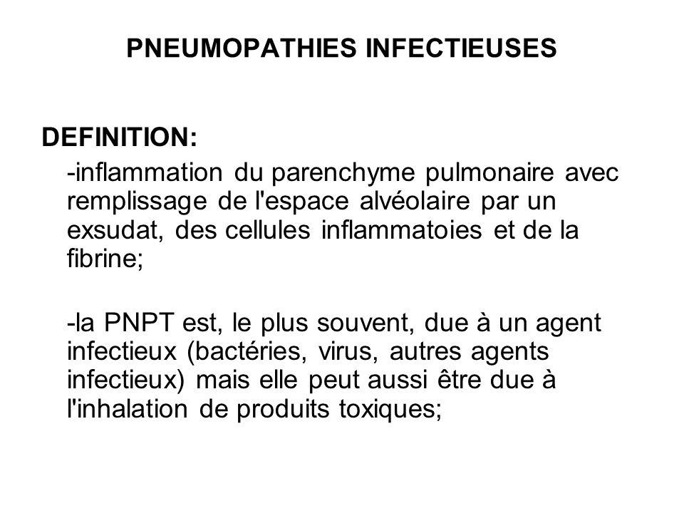 PNEUMOPATHIES INFECTIEUSES DEFINITION: -inflammation du parenchyme pulmonaire avec remplissage de l'espace alvéolaire par un exsudat, des cellules inf