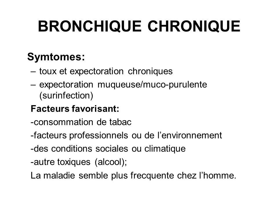 BRONCHIQUE CHRONIQUE Symtomes: –toux et expectoration chroniques –expectoration muqueuse/muco-purulente (surinfection) Facteurs favorisant: -consommat