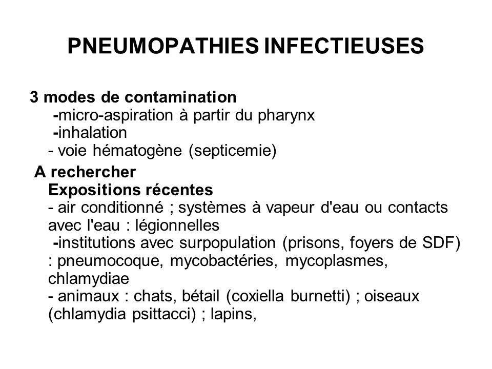 PNEUMOPATHIES INFECTIEUSES 3 modes de contamination -micro-aspiration à partir du pharynx -inhalation - voie hématogène (septicemie) A rechercher Expo