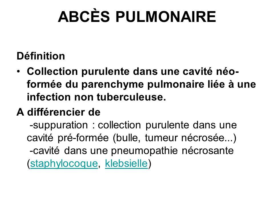 ABCÈS PULMONAIRE Définition Collection purulente dans une cavité néo- formée du parenchyme pulmonaire liée à une infection non tuberculeuse. A différe