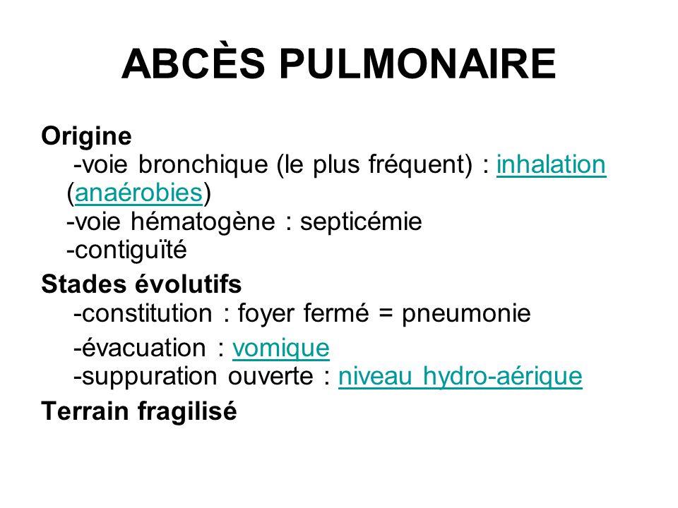 ABCÈS PULMONAIRE Origine -voie bronchique (le plus fréquent) : inhalation (anaérobies) -voie hématogène : septicémie -contiguïtéinhalationanaérobies S