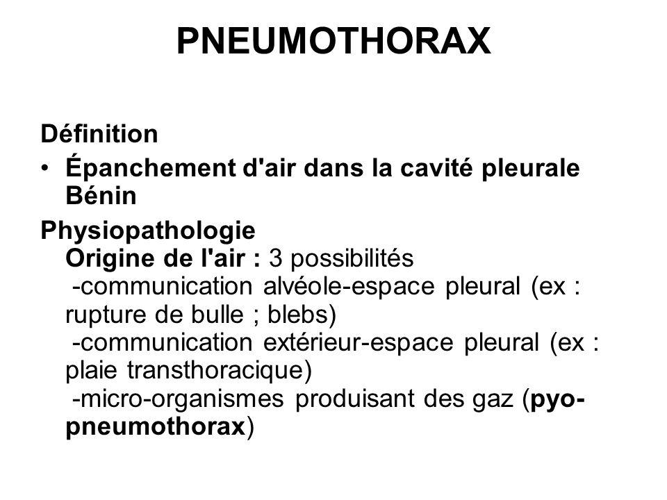 PNEUMOTHORAX Définition Épanchement d'air dans la cavité pleurale Bénin Physiopathologie Origine de l'air : 3 possibilités -communication alvéole-espa