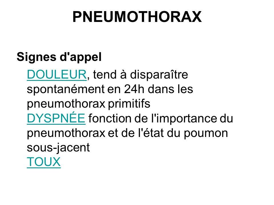 PNEUMOTHORAX Signes d'appel DOULEURDOULEUR, tend à disparaître spontanément en 24h dans les pneumothorax primitifs DYSPNÉE fonction de l'importance du