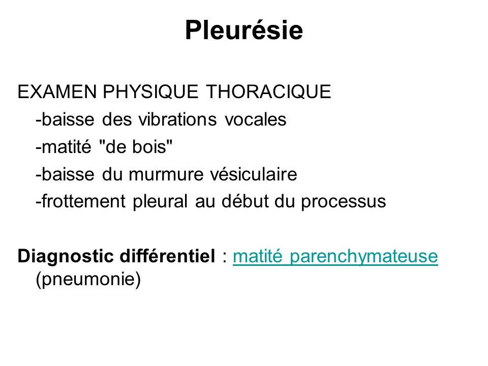 Pleurésie EXAMEN PHYSIQUE THORACIQUE -baisse des vibrations vocales -matité