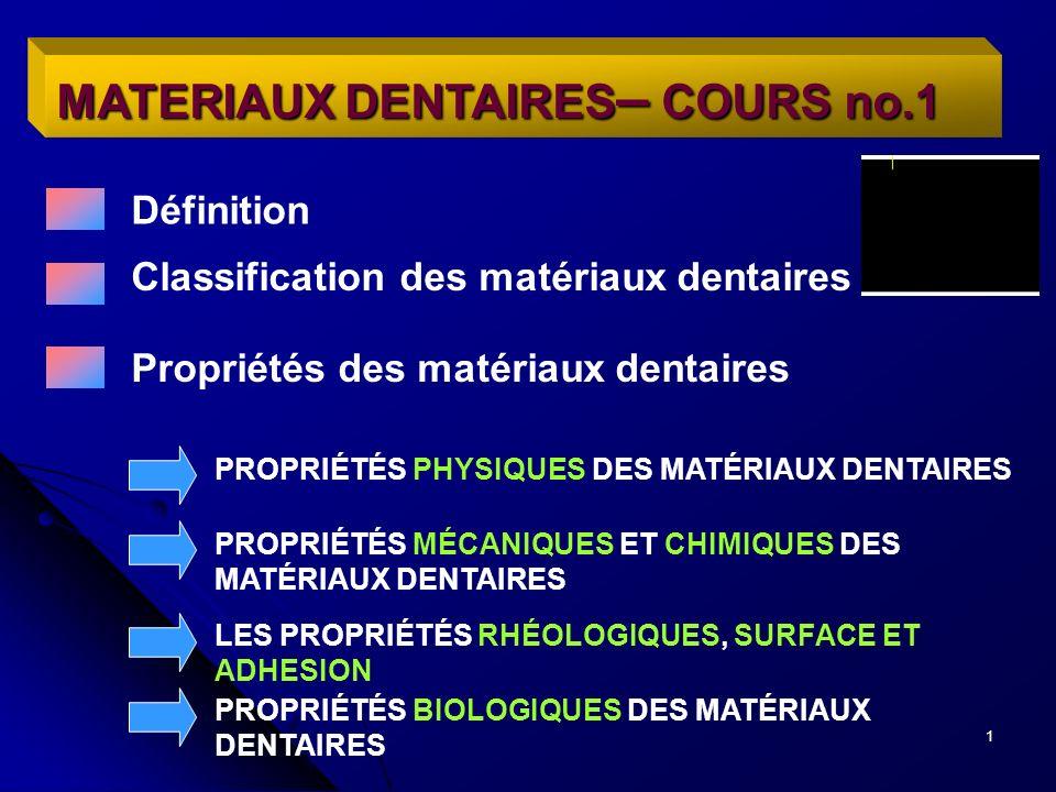 1 MATERIAUX DENTAIRES – COURS no.1 Définition Classification des matériaux dentaires Propriétés des matériaux dentaires PROPRIÉTÉS PHYSIQUES DES MATÉR