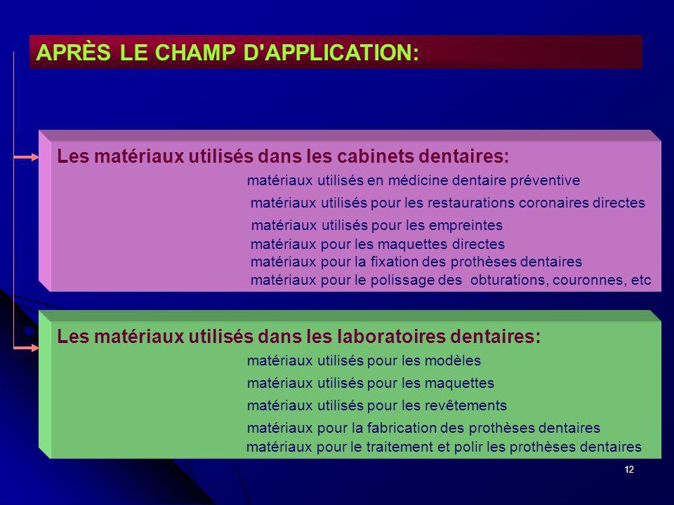 12 APRÈS LE CHAMP D'APPLICATION: Les matériaux utilisés dans les cabinets dentaires: matériaux utilisés en médicine dentaire préventive matériaux util